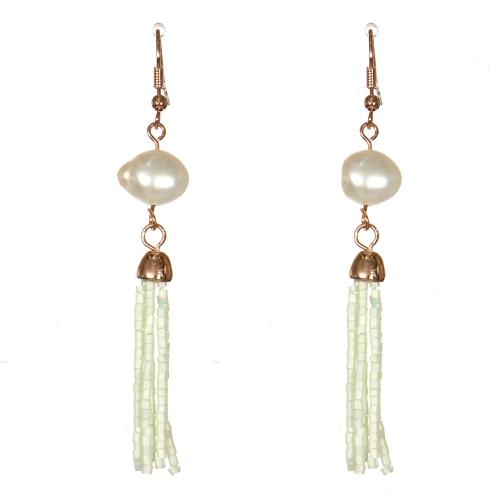 Wholesale WA00 Faux pearl & beads tassel earrings IV