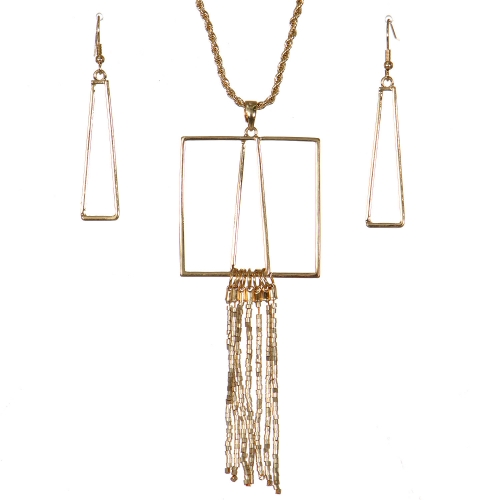 Wholesale WA00 Geometry & tassels necklace set GD