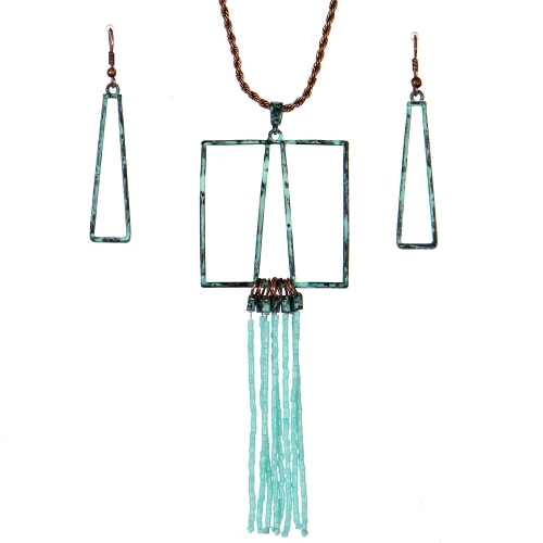 Wholesale WA00 Geometry & tassels necklace set TQ