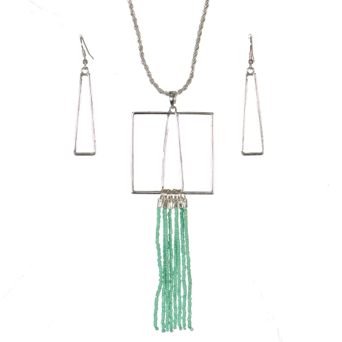 Wholesale WA00 Geometry & tassels necklace set GN