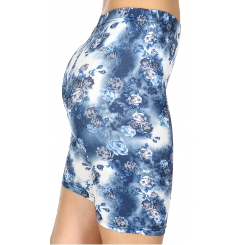 Wholesale C16A Rose bunch print softbrush bermuda leggings