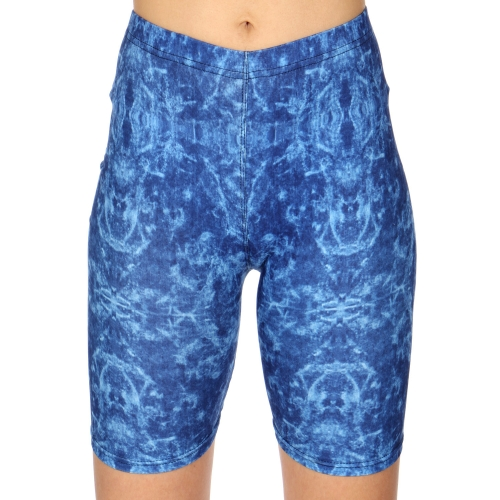 Wholesale C16A Blue tie dye print softbrush bermuda leggings