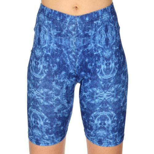 Wholesale C16A Blue tie dye print softbrush bermuda leggings