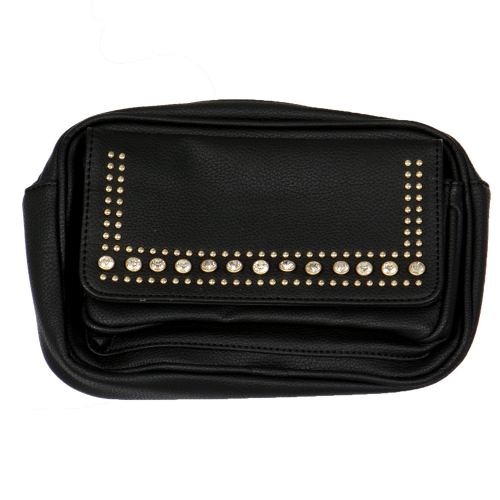 Wholesale N00B Rhinestone studded faux leather flap fanny pack BLACK