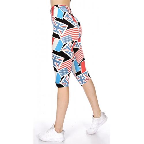 Wholesale O05D Multi flag print softbrush capri leggings