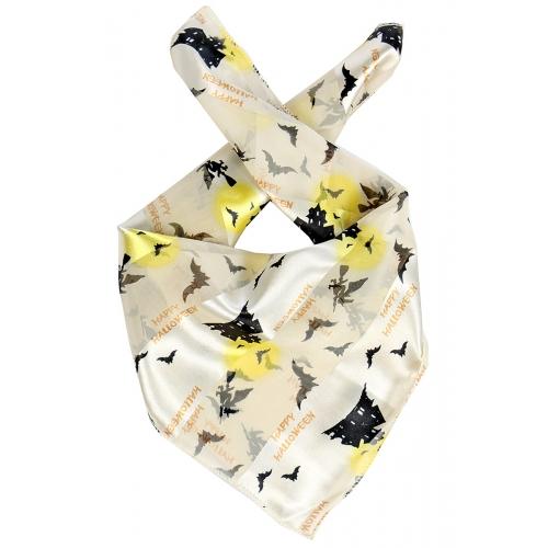 Wholesale O31B Happy Halloween satin striped 21 X 21 square scarf I/BK
