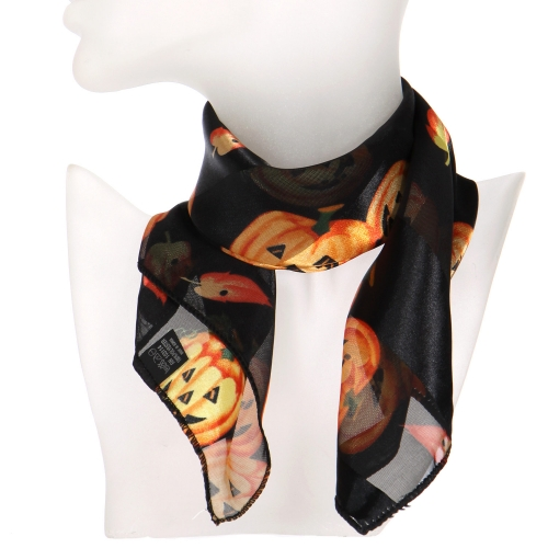 Wholesale O31B Jack o' lantern satin striped 21 X 21 square scarf B/OR