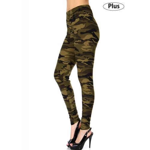 Wholesale Q59B NEW MIX camouflage print softbrush leggings PLUS SIZE GREEN