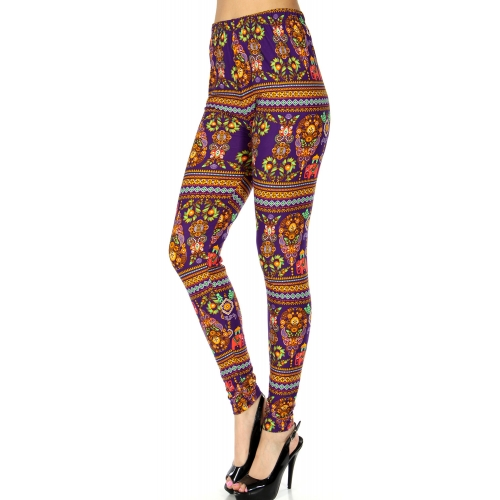 Wholesale Q63C NEW MIX garden paisley print softbrush leggings PLUS SIZE