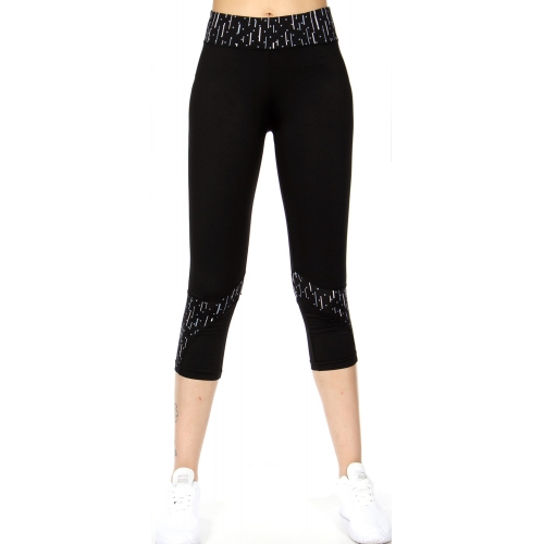Wholesale J17E Pattern printed panel capri leggings Grey Band