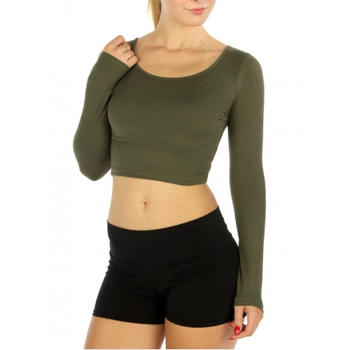 Wholesale E01 Solid soft long sleeve croptop Black