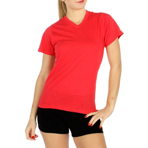 wholesale Cotton V Neck solid tee Small fashionunic