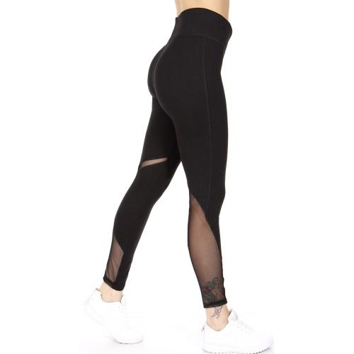 Wholesale R72A Mesh panel workout leggings Black