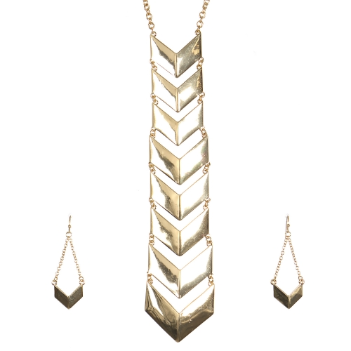 Wholesale L27B Chevron chain pendant necklace set G