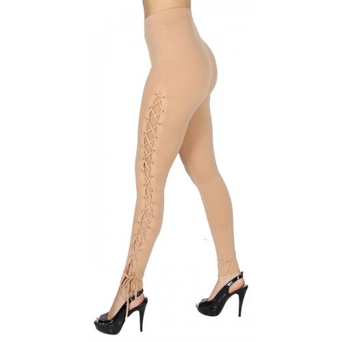 Wholesale S25 Lace-Up grommet leggings Sand