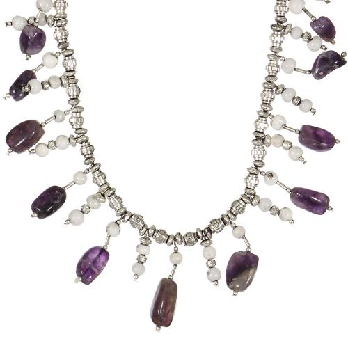 Wholesale WA00 Handmade natural amethyst stones statement necklace