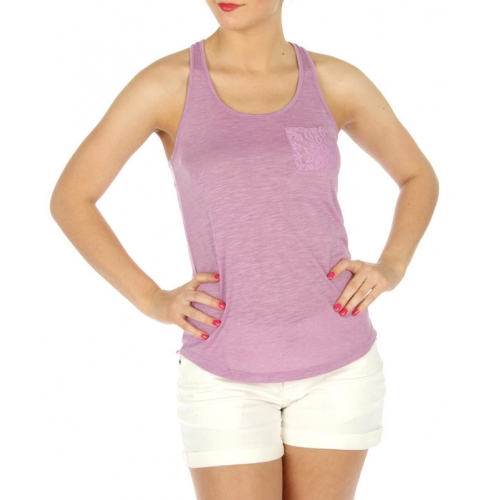 wholesale crossback cotton tank lace pocket BK