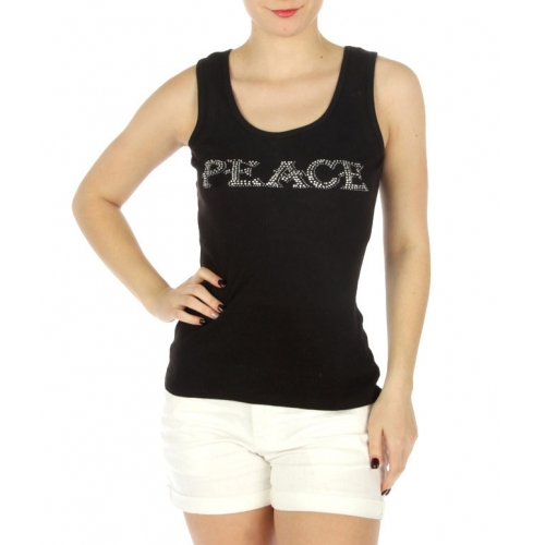 wholesale H03 Peace rhinestones cotton tank top BK