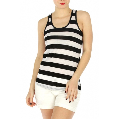 wholesale G47 Striped racerback tank top Black/White