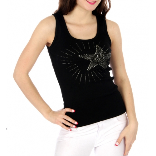 wholesale Shining star rhinestone ribbed tank top BK
