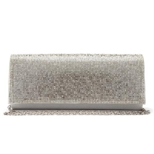 Wholesale N14B Rhinestone evening clutch bag PU Silver