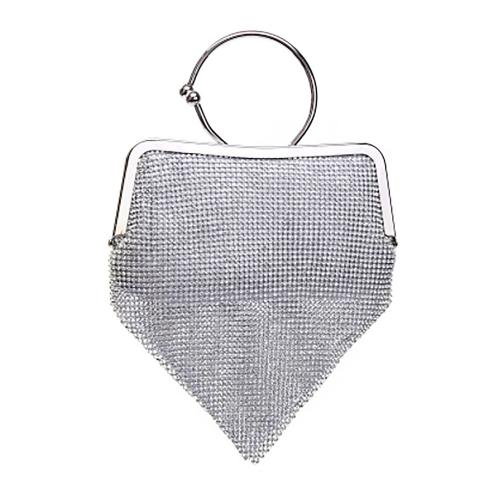 Wholesale N13A Petite rhinestone ring clutch Silver