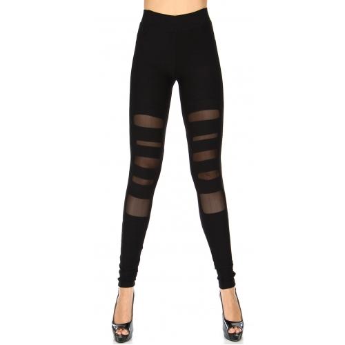 Wholesale Q50 Cutout mesh detail workout leggings Black