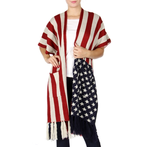 Wholesale Q25D American flag woven shawl with pocket