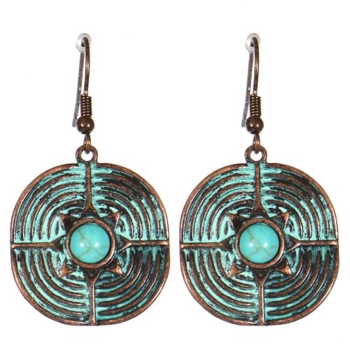 Wholesale M21C Textured metal drop earrings OG