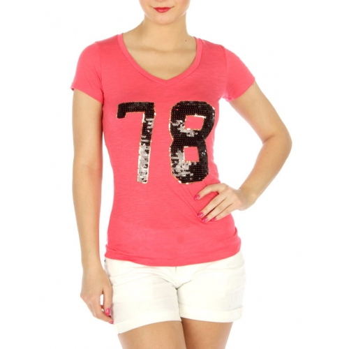 wholesale H17 Sequin embellished cotton T shirt Black
