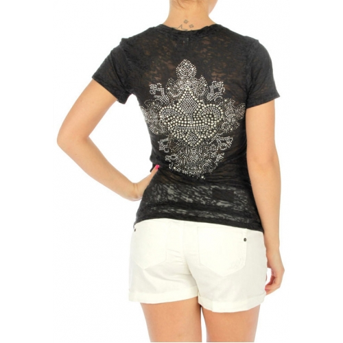 wholesale Short sleeve burnout cotton T rhinestone BK