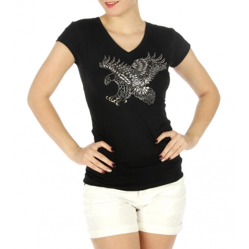 wholesale H00 Stud eagle V neck cotton T Black