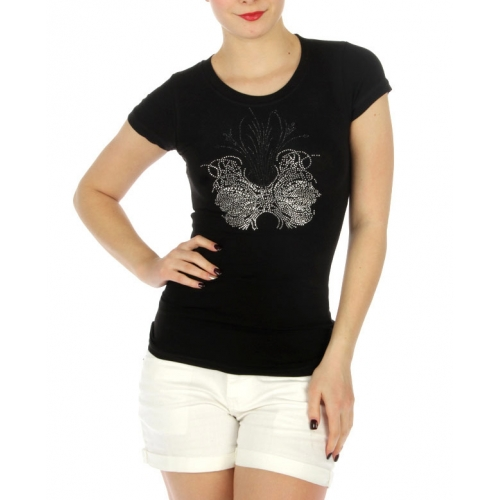 wholesale K55 Cotton embellished T shirt Black
