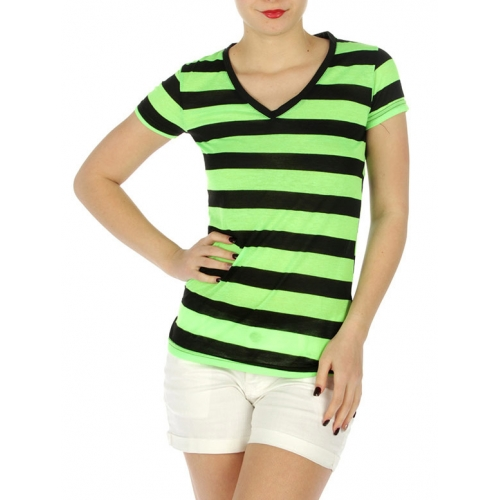 wholesale G48 Striped v neck tee Lemon/Black