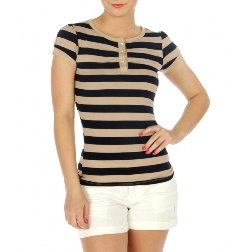 wholesale 07 Cotton short sleeve striped top Blue/GY