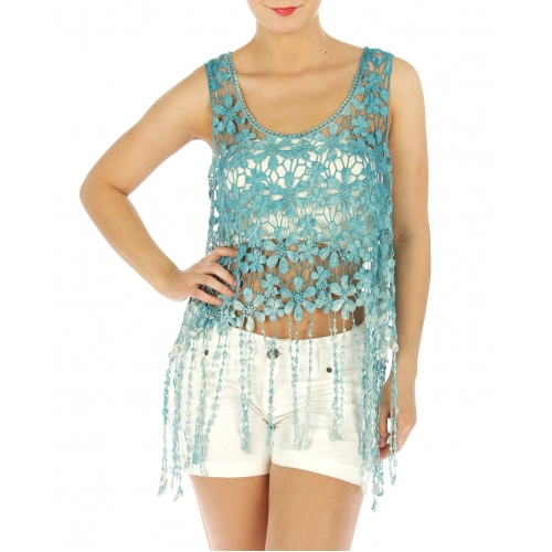 wholesale M06 Cotton fringed floral crochet feel top GY