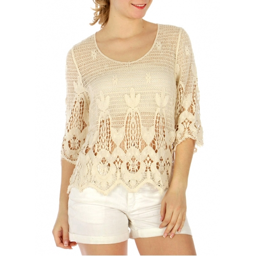 Wholesale G30 Cotton crochet feel crop top Black