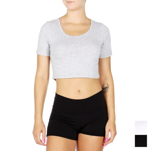 Wholesale O51B Cotton blend solid crop top Black