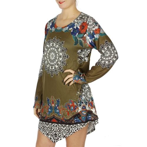 Wholesale N10C Rhinestone & filigree print long sleeve tunic Burgundy