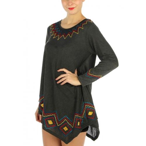 wholesale Embroidery cotton unbalance mini dress BK