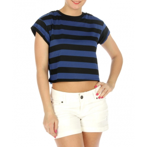 wholesale K61 Cotton stripe crop top Lime/Grey
