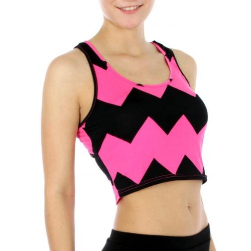 wholesale J29 Chevron crop top Pink/Black fashionunic