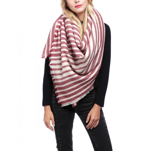 Wholesale S02C Fringe trim square scarf Stripe