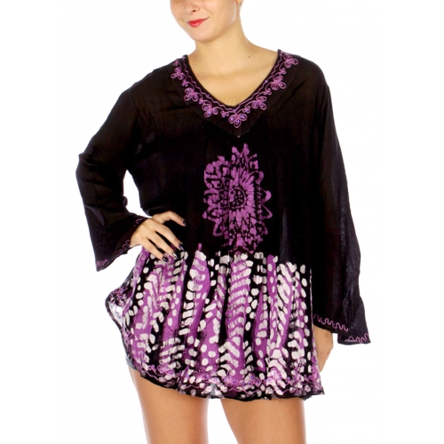 Wholesale M38C Long Sleeve V Neck Embroidery Dress BL