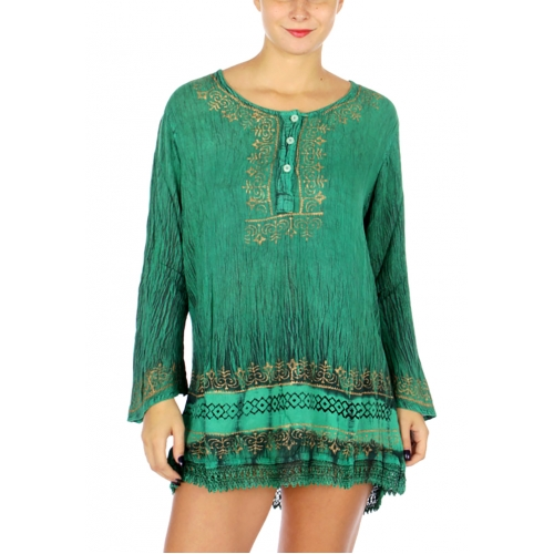 Wholesale M21E Long Sleeve Lace Bottom Tunic Dress BL
