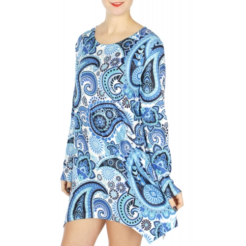 Wholesale M37A Flower & paisley digital long sleeve tunic Red