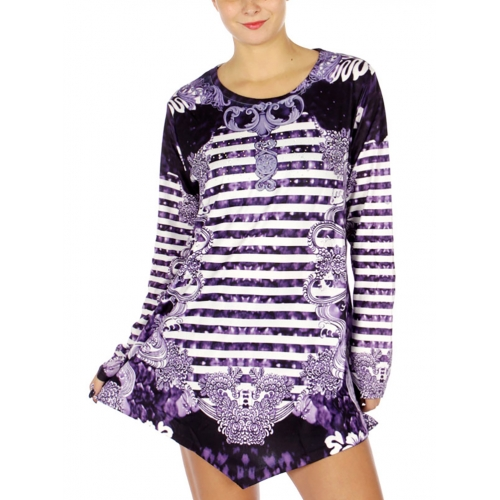 Wholesale N12C Digital Stripe Long Sleeve Tunic Top/Dress BK