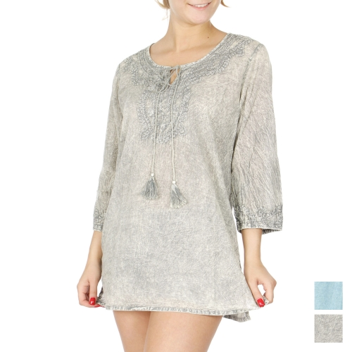 Wholesale I37A Acid washed front embroidery batik tunic top PLUS SIZE GREY