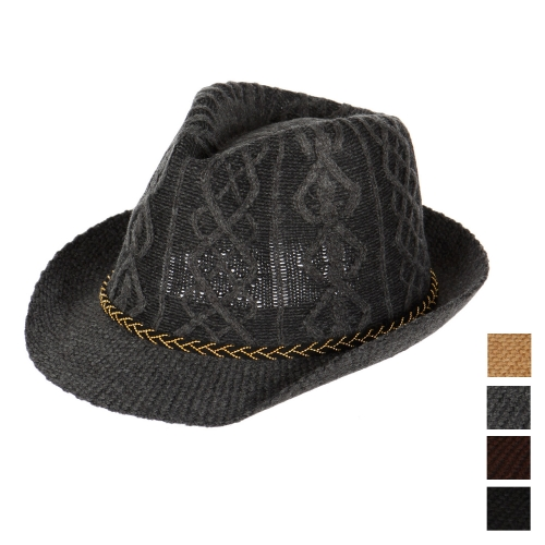 Wholesale V60B Textured knit fedora fashionunic