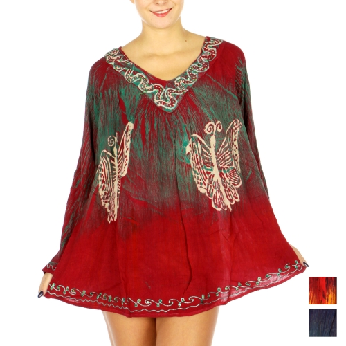 Wholesale N12A Butterfly Long Sleeve Embroidery Tunic Top BD